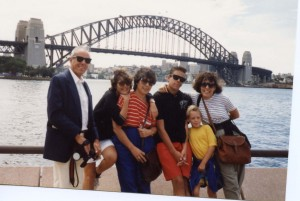 Mom in the middle with her family on a trip to Australia.