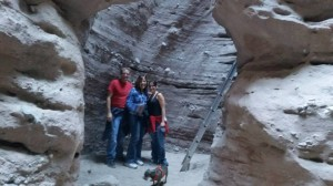 Me in the middle with my son (left) and daughter-in-law (right) hiking in Ladder Canyon.