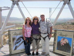 My friend, Cindy (left), me, and my husband getting ready to zip line for the first time.