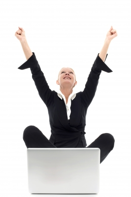 Woman Celebrates Laptop